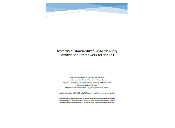 White paper – Towards a Standardized Cybersecurity Certification Framework for the IoT