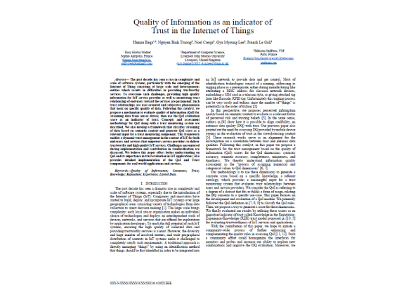 Quality of Information as an indicator of Trust in the Internet of Things