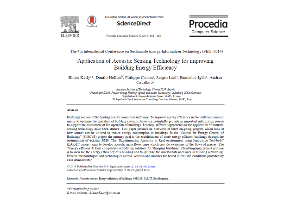 Application of Acoustic Sensing Technology for improving Building Energy Efficiency
