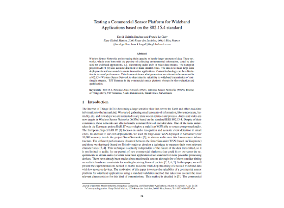Testing a Commercial Sensor Platform for Wideband Applications based on the 802.15.4 standard