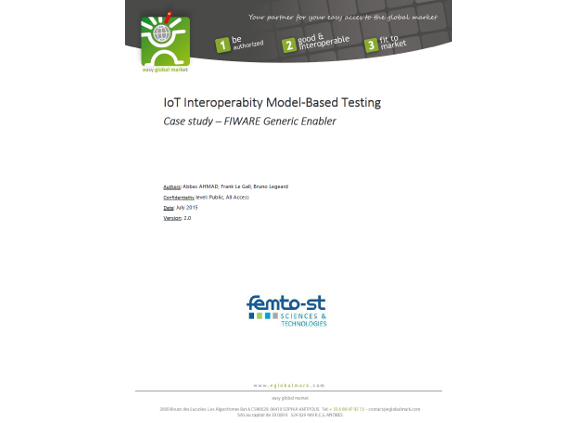 White paper – IoT Interoperability Model-Based Testing Case study – FIWARE Generic Enabler