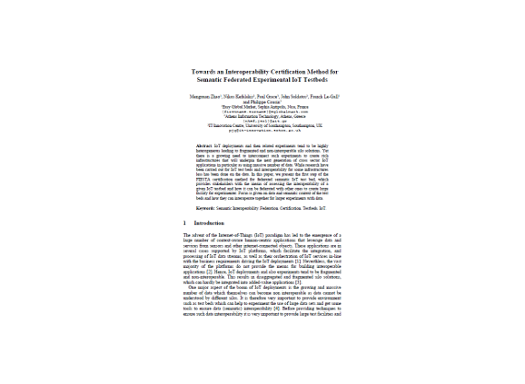 Towards an interoperability certification method for semantic federated experimental IoT testbeds