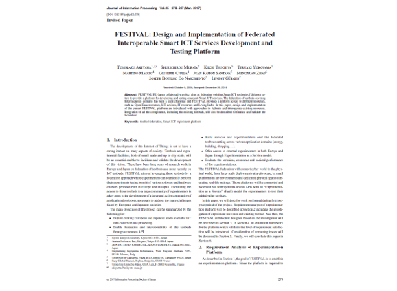 Festival: Design and Implementation of Federated Interoperable Smart ICT Services Development and Testing Platform