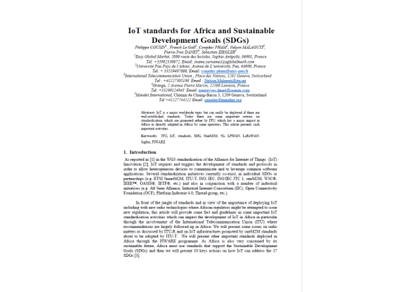 IoT Standards for Africa and Sustainable Development Goals (SDGs)